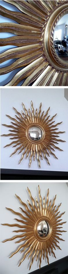 1950's French Starburst mirror with convex mirror plate