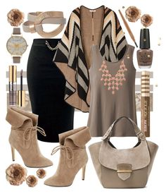 """Cozy in Taupe"" by nikkimmorrison ❤ liked on Polyvore featuring Mara Hoffman, TravelSmith, 424 Fifth, Too Faced Cosmetics, OPI, Michael Kors, Cynthia Rowley, Charlotte Russe, Olivia Burton and Yves Saint Laurent"