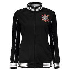 Confeccionada em poliéster a jaqueta Corinthians Trilobal Feminina tem  design na cor preta com detalhes em branco. Sua abertura fechamento tem  zíper 89b63525a153b