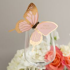 Metallic butterfly wine glass place card in gold/rose, £1.50 eagleeyedbride.com #foil #metallics #pink