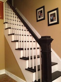 Restored stairs with vintage newel post