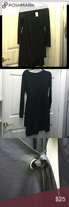 Cato Black faux wrap dress Brand new, never worn. Great for winter parties with boots! Cato Dresses Long Sleeve