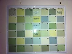 DIY Paint Swatch Calendar