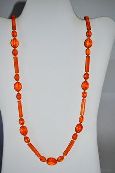 Orange Necklace Beaded Vintage Jewelry Unique Women Long  #NKB3 3 12 by eventsmatters on Etsy