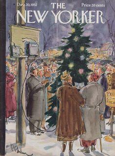 New Yorker cover Barlow village Christmas carol sing 12/20 1952