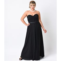 Plus Size Black Chiffon Strapless Sweetheart Corset Long Gown ($88) ❤ liked on Polyvore featuring dresses, gowns, black, plus size long maxi skirts, plus size evening gowns, pleated maxi skirt, long gowns and plus size chiffon maxi skirt