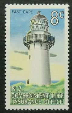 Lighthouse East Cape. Stamp from  New Zealand