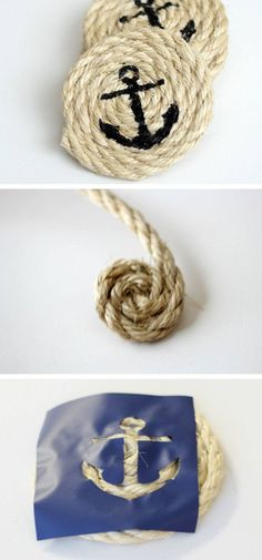 DIY Nautical Sisal Rope Coasters   20 DIY Fathers Day Gift Ideas from Wife   DIY Holiday Gift Ideas for Men