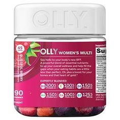 Olly The Perfect Women's Multi-Vitamin Blissful Dietary Supplement Gummies - Berry - Olly Vitamins, Vitamins For Skin, Vitamins For Women, Vitamin D Calcium, Strong Bones, Bone Health, Nutritional Supplements, Product Label, Eating Habits