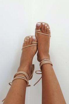 From day time to your next night out! The Strappy Eva Heels feature a wooden block heel, square toe, tan toned toe strap detailing, strappy detailing across toes and flattering ankle ties. The perfect shoe to go with most outfits! By SABO SHOES Tan Strappy Heels, Tie Heels, Prom Heels, Shoes Heels, Boho Heels, Tan Shoes, Flat Prom Shoes, Stiletto Heels, Tan High Heels