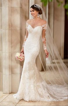 J159 Sexy See Through Top Lace Wedding Dress, Chapel Train Long Mermaid Wedding Dresses, Elegant Wedding Dresses Made In China