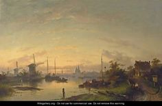 A River Scene At Dusk, Windmills In The Distance - Charles Henri Leickert