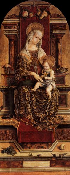 Carlo Crivelli, The Virgin and Child (The Demidoff Altarpiece, center panel). wood, painted surface, 1476.