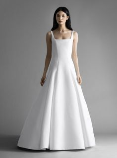 Style 4909 Easton Allison Webb bridal gown - Snow blended faille dropped waist bridal gown, with molded bodice and removable bow sash and buttons. A Line Gown, Chapel Train, Drop Waist, Designer Collection, Formal Dresses, Wedding Dresses, Sash, Bridal Gowns, One Shoulder Wedding Dress