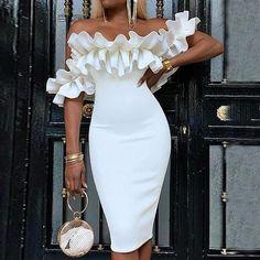 Women Ruffle Bodycon Dress Plunge Short Sleeve Mid Party Dress Off Shoulder Dresses Vestidos Sexy Dresses, Fashion Dresses, Summer Dresses, Formal Dresses, Outfits Dress, Bandage Dresses, Midi Dresses, Flower Dresses, Modest Dresses