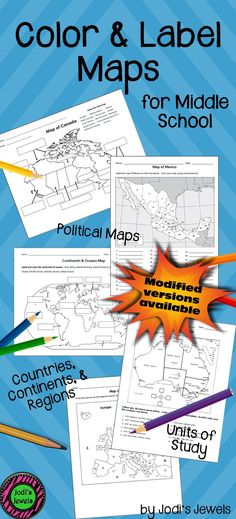 Visit Jodi's Jewels today for color and label MODIFIED maps of countries, continents, and regions created for middle school co-teach, inclusion, and special ed students! Enrich your middle school social studies units today!