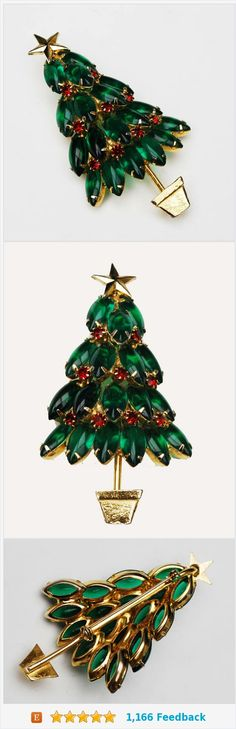 Large Rhinestone Christmas Tree Brooch - Green Red crystal Stones - Open back gold plated - 3 inch Holiday Pin