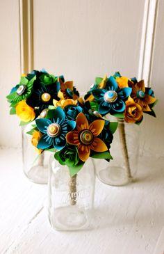 Paper Flower Bouquet, 3 Bridesmaid Bouquets #weddings