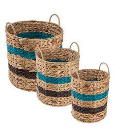 Another great find on #zulily! Navy & Blue Three-Piece Stripe Nesting Basket Set #zulilyfinds