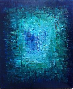 20 x 24 x 1.5, Original Contemporary Oil Painting. Abstract in nature with Bright jewel tone blues, Deep ocean blues, Teal, Turquoise, Forest