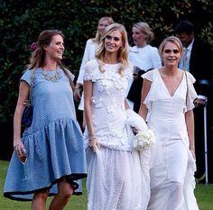 Chloe Delevingne in Victoria Beckham dress, Poppy Delevingne in Chanel Couture wedding dress & Cara Delevingne