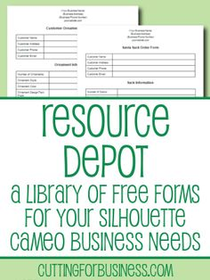 Resource Depot - Free Business Resources for your Silhouette Cameo Business