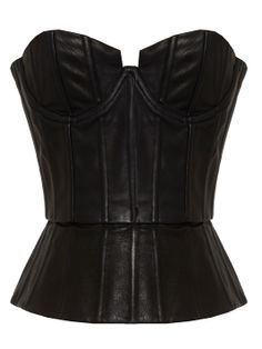 JESSI LEATHER STRUCTERED BUSTIER TOP