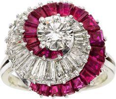 Diamond, ruby, platinum ring - Oscar Heyman Bros., circa 1970.