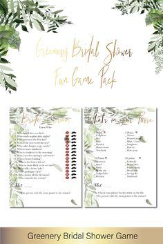 4fd0ea6284f Greenery Bridal Shower Game Printable 2 pc Bundle