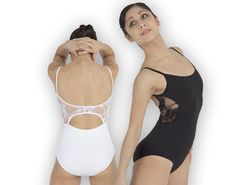 Ref: P441    Plume's lovely microfibre camsiole leotard features a circular lace design at the back. Shelf bra lining.
