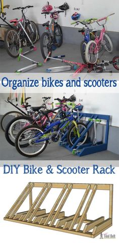 DIY Bike and Scooter Rack - Her Tool Belt - Home - Garage Solutions, Storage & Organization - The perfect way to organize those bikes and scooters all over the garage. Free and easy plans to bu -