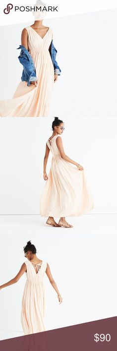 """NWOT Madewell Tie-Back Maxi Dress Never worn. Light peach colored.  Waisted. Falls 58 1/4"""" from high point of shoulder. Rayon. Lined. Madewell Dresses Maxi"""