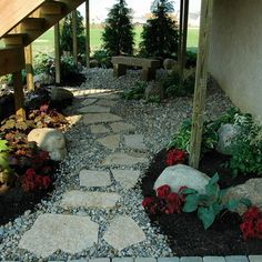 Full Shade Landscaping Ideas For under a deck Landscape Design Ideas, Pictures, Remodels and Decor Under Deck Landscaping, Patio Under Decks, Shade Landscaping, Landscaping With Rocks, Backyard Landscaping, Landscaping Ideas, Walkway Ideas, Rock Walkway, Inexpensive Landscaping