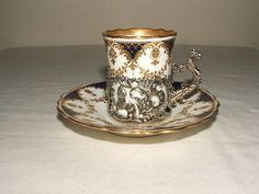 AYNSLEY-ART-NOUVEAU-SILVER-HANDLED-COFFEE-CUP-amp-SAUCER-TRULY-STUNNING