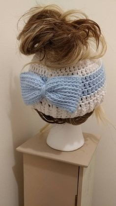 Messy Bun Beanie Stripe and Bow by TrinketsForMisfits on Etsy