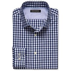 Banana Republic Mens Grant Fit Non Iron Blue Gingham Shirt featuring polyvore, men's fashion, men's clothing, men's shirts, men's casual shirts, basic blue, mens button down collar shirts, wrinkle free mens shirts, men's no iron dress shirts, mens blue gingham shirt and mens slim fit shirts