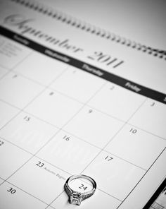 Good idea to photograph the day you got engaged or married using a calendar and your ring :) #Weddings