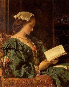 Francis John Wyburd - Portrait of a Girl in Green reading