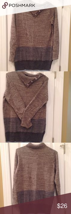 """Gap Gap sweater.  Snaps at neck/shoulder can be worn open or closed for turtleneck fit..  Slits at both sides of hem.  Beautiful colors browns/taupe/gray/baby blue.  Size is medium. But measurements are:  22"""" pit to pit   30"""" shoulder to hem.  Another excellent legging top.  I love offers! GAP Tops"""