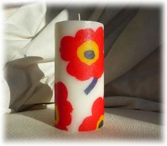Large hand decorated candle for Marimekko lovers £9.95