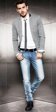 Men's Grey Cotton Blazer, White Dress Shirt, Blue Jeans, Black Leather Boots