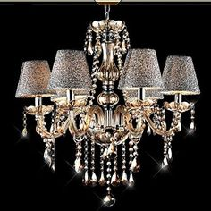 6 Lights,Decorative Crystal Chandelier In Cognac Color With Lamp Shade , Crystal & Glass - USD $ 229.99