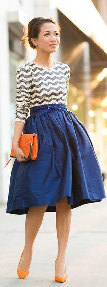 October Skies :: Royal Blue Skirt & Orange Details by Wendy's Lookbook