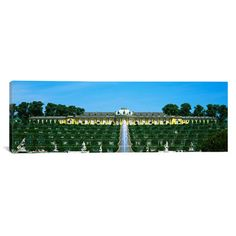 "East Urban Home Panoramic Sanssouci Palace, Brandenburg, Germany Photographic Print on Canvas Size: 24"" H x 72"" W x 1.5"" D"