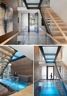 Inside this modern house, a glass bridge and open tread stair illuminates the circulation of the home. Skylights from above filter natural light down thru to the basement and LEDs light each glass bridge for a playful pop of color. Luz Natural, Natural Light, New Modern House, Modern House Design, Glass Bridge, Glass Walkway, Glass Stairs, Tiered Seating, Bamboo Structure