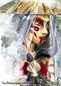 Gorgeous watercolor(?) of Katara as the Painted Lady.