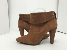 0ad84e350ac9 Schutz Dalya Wood Chestnut Brown Suede Women s High Heels Ankle Boots Size  7 M