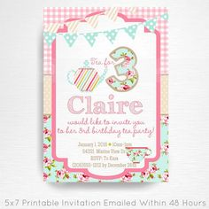Tea Party Printable Invitation YOU Print Tea for Three Pink Blue Floral  This is an emailed file, nothing will be shipped to you. Can be customized