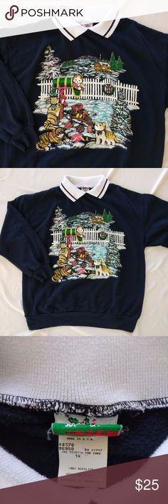 Collared Christmas Cats Sweatshirt sz 1X Collared Christmas Cats Sweatshirt sz 1X  Super cute kitten scene sweatshirt with a collar. Garment shows wear and has pilling but no tears, holes or stains. Sweaters