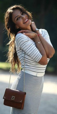 @Madalina_Ghenea in Beautiful #Skirt Outfit in #Stripes ~